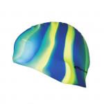 Spokey Abstract plavecká čepice silikonová modro-žluto-zelené pruhy