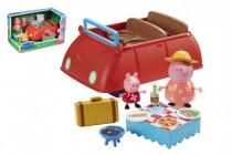 Prasátko Peppa/Peppa Pig plast auto + 2 figurky s doplňky