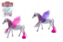 Kůň s křídly česací fliška 16cm - mix barev