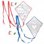 Set 1 + 1 letající drak Color&Fly, drak a fixy na vybarvení, červený a modrý, Cuculo