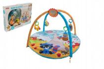 Hrací podložka/Hrazda pro děti a chrastítky plyš/plast 0m+
