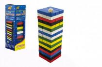 Hra Jenga věž dřevo 48ks barevných dílků hlavolam