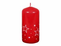 Svíčka BÍLÉ HVĚZDY VÁLEC vánoční lakovaná d5x10cm