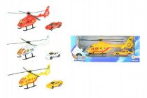 Vrtulník/Helikoptéra s autem kov/plast 20cm - mix barev