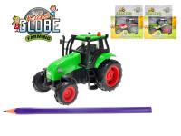 Traktor kov 11 cm na setrvačník na baterie se světlem a zvukem - mix barev