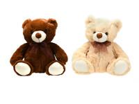 Medvěd plyšový 31 cm sedící s mašlí - mix barev