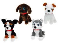 Pes plyšový sedící 26 cm s obojkem - mix variant či barev