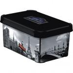box úložný PARIS 29,5x19,5x13,5cm (S) s víkem, plastový