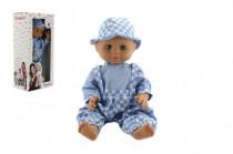 Panenka/Miminko Hamiro 40cm, pevné tělo sv. modré kalhoty + košile+klobouček