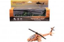 Vojenská helikoptéra Appache se světlem a zvukem
