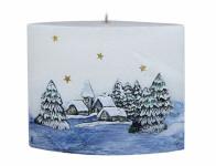 Svíčka ZIMNÍ SEN ELIPSA DIODA vánoční 14x12cm