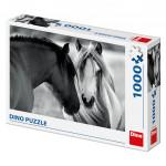 Puzzle koně černobílé 66x47cm 1000 dílků