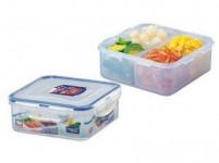 dóza na potraviny LOCK 870ml (155x155x60mm) s přihrádkou plastová