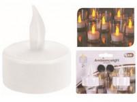 svíčka čajová LED pr.3,5cm BÍ (2ks) s bateriemi, časovačem