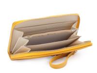 Dámská peněženka na zip s řemínkem na zápěstí a zlatou mašličkou, eko kůže, okrová