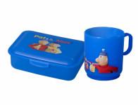 Set PAM box na svačinu střední+hrnek plastový 2,5dl, modrý