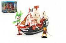 Pirátská loď s doplňky plast 25cm