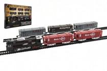 Vlak + 5 vagónů s kolejemi plast 140x68cm na baterie se světlem