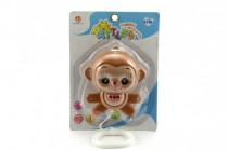 Hrací strojek natahovací opička plast 12cm