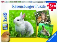 Ravensburger puzzle Roztomilý králíček; 3x49 dílků