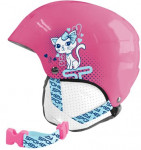 Spokey AURORA dětská lyžařská přilba růžová s kočičkou, vel. S