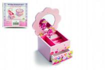 Skříňka šperkovnice Princess dřevo hrající květina zásuvka