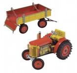 Traktor Zetor s valníkem, červený, zelený plastová kola - mix variant či barev