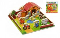 Domeček dřevěná farma Moje první zvířátka 31x31cm 28ks+podložka v krabici MPZ