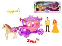 Kočár s koněm 29 cm s princeznou a princem 10 cm na baterie se světlem a zvukem