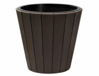 Obal na květník WOODE plastový tmavě hnědý d39x37cm