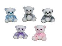 Medvídek plyšový 26 cm sedící s mašlí - mix barev