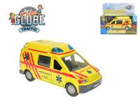 Ambulance kov 14 cm zpětný chod na baterie se světlem a zvukem