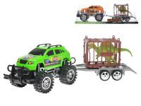 Auto terénní s přívěsem 39 cm na setrvačník s klecí a dinosaurem - mix barev