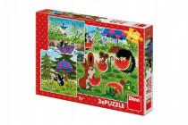 Dino puzzle Krteček a paraplíčko 3x55 dílků