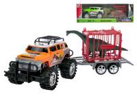 Auto terénní s vozíkem 39 cm na setrvačník s klecí a dinosaurem - mix barev