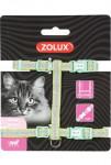 Postroj kočka SHINY nylon zelený Zolux
