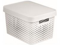box úložný INFINITY děrovaný 36,3x27x22,2cm s víkem, plastový, BÍ