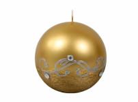 Svíčka STŘÍBRNÝ MOTIV KOULE vánoční metalická d8cm