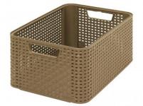 box úložný RATTAN 39x29x17cm (M), STYLE2, plastový, MOCCA tm.