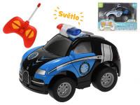 R/C auto policie 11 cm 27 MHz plná funkce na baterie se světlem - mix barev
