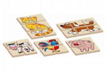 Skládanka zvířátka dřevěná oboustranná 12dílků 5 zvířátek