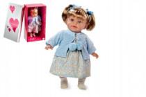 Panenka Arias vonící 42cm modré šaty smějící se měkké tělo na baterie