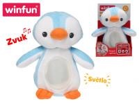 Lampička tučňák 22 cm plyšový stojící měnící barvu na baterie se světlem a ukolébavkou