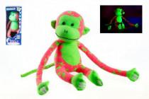 Opice svítící ve tmě plyš 45x14cm růžová/zelená