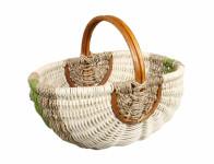 Košík nákupní ratanový natur a zelený 35x23x19cm