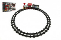 Vlak/Lokomotiva s vagónkem a dráhou 10ks plast na baterie - VÝPRODEJ