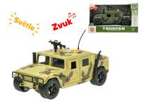 Terénní vozidlo vojenské 23 cm 1:16 na setrvačník na baterie se světlem a zvukem - mix barev