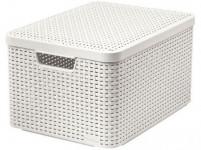 box úložný RATTAN 44,5x33x25cm (L) s víkem, STYLE2, plastový, KRÉM