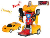 Auto robot 22 cm narážecí na baterie se světlem a zvukem - mix barev
