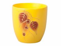 Obal na květník KODET LEAVES 2 žlutý matný d16x17cm